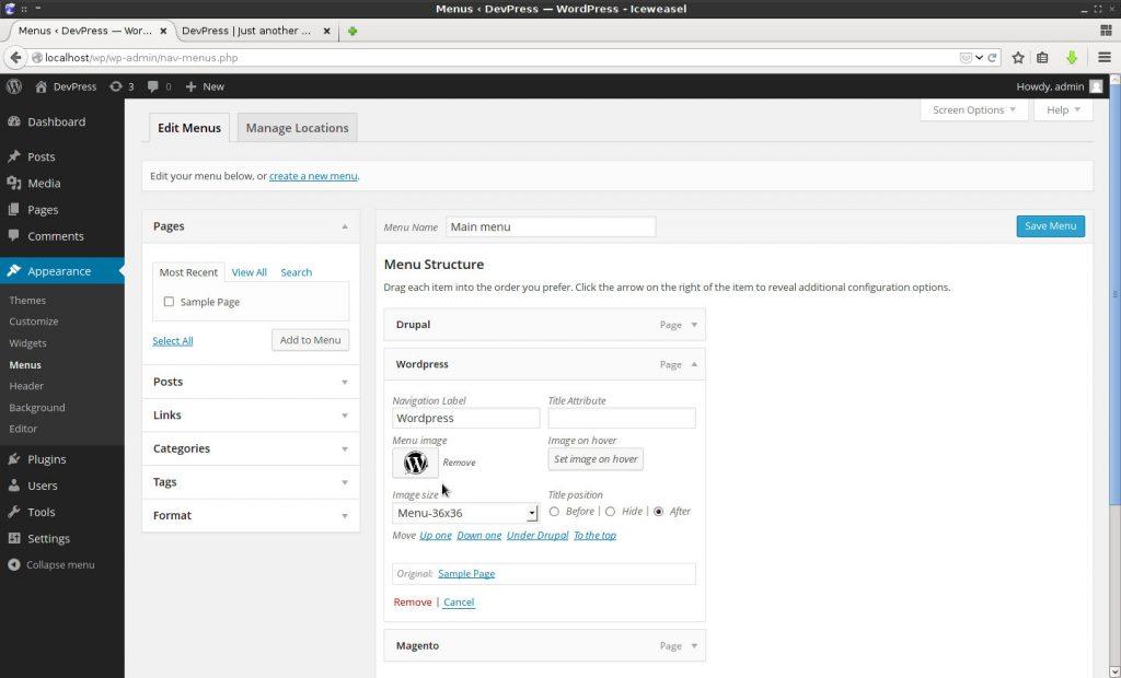 WordPress 菜单添加图片插件:Menu Image